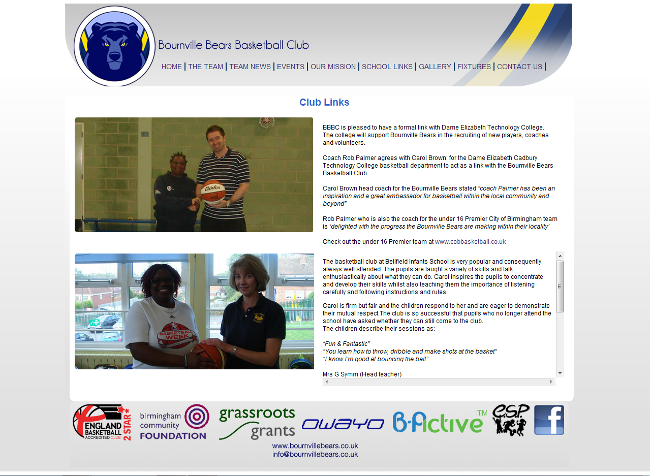 Bournville Bears Webpage