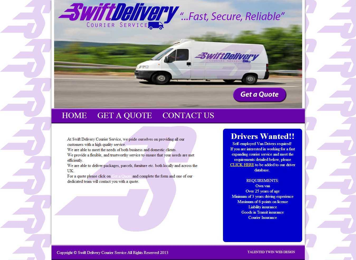 Swift Delivery Courier Service Homepage